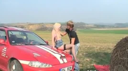 Young little slut fucked on the hood of the car