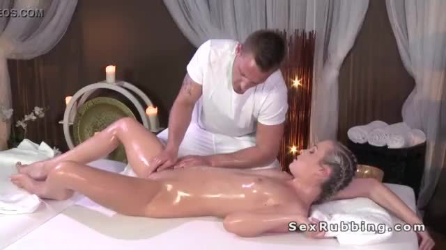 Masseur finished sex with blonde in cum