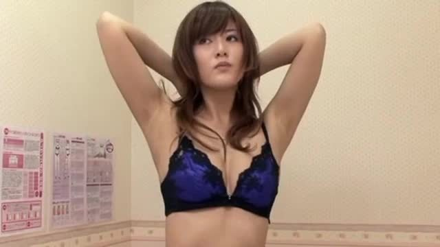 Hot housewife trying out bra