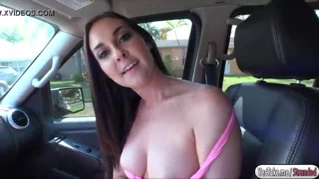 Sexy babe Britanny Shae sucks and fucks big cock in the backseat