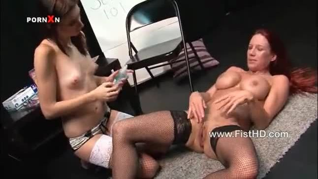 Faye uses a big dildo and fist on Mishka